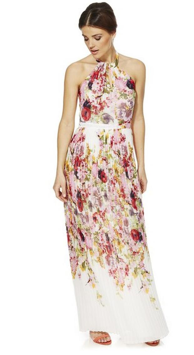 F&F Signature Floral Print Pleated Maxi Dress, €65.50 at Tesco