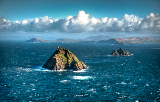 The Skellig Islands, Co. Kerry, with UNESCO heritage site of Skellig Michael in the foreground. Photo: Irish Air Corps