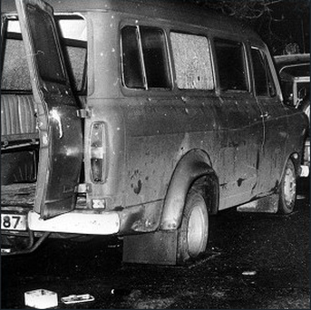The bullet riddled minibus near Whitecross in South Armagh where 10 Protestant workmen were shot dead. Credit: PA Archive