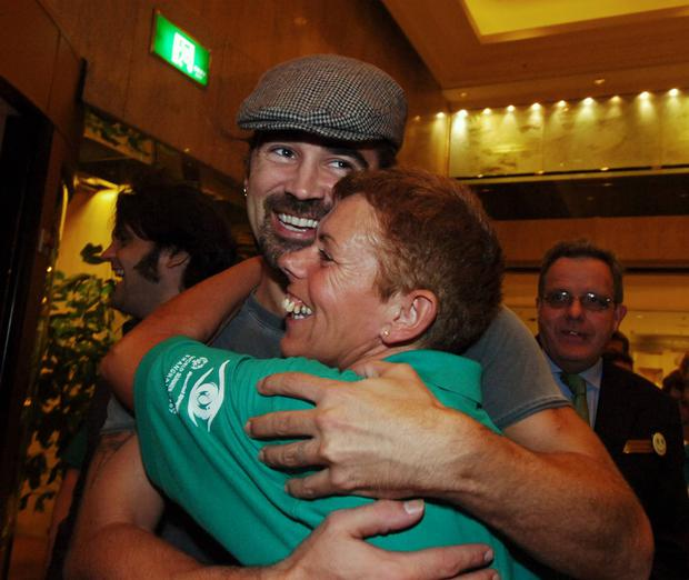 Hollywood actor Colin Farrell with Special Olympics Volunteer Rita Lowlor from Dublin