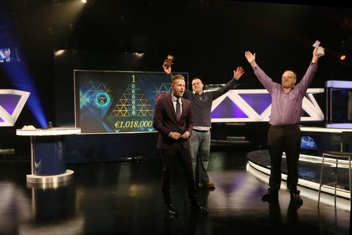 Martin Burke from Naas, Co. Kildare has won €1,018,000 on the National Lottery's The Million Euro Challenge game show on RTE on Saturday 25th April 2015. Pictured here (right) Martin Burke, the winning player; Martin Burke (centre), Martin's son & guest support on the show and (left) The Million Euro Challenge Host Nicky Byrne.