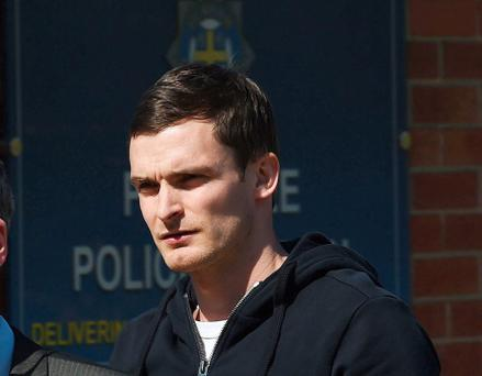 England footballer and Sunderland winger Adam Johnson, arrives to answer bail at Peterlee Police station in County Durham, after he was arrested by Durham Police on suspicion of sexual activity with a girl under 16. PRESS ASSOCIATION Photo. Picture date: Thursday April 23, 2015. See PA story POLICE Footballer. Photo credit should read: Owen Humphreys/PA Wire