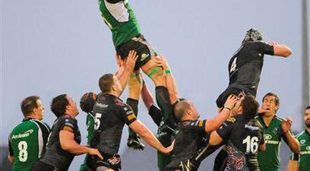 Andrew Farley, pictured here playing for Connacht, September 2008, takes the ball in the lineout against Ian Gough, Ospreys. Magners League, Connacht v Ospreys, Sportsground, Galway (Matt Browne / SPORTSFILE)