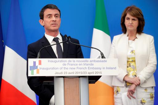 French Prime Minister Manuel Valls and Tánaiste Joan Burton at the opening of the new French Embassy on Merrion Square, Dublin. Picture: Arthur Carron