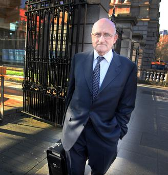 Dermot Gleeson, former chairman of AIB, arrives at Leinster House for the Oireachtas Banking Inquiry yesterday. Picture: Tom Burke