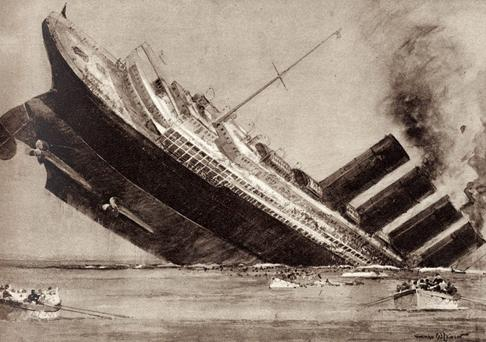 'The Sinking of the Lusitania' - illustration of the sinking of the American passenger liner by torpedo near south west Ireland during World War 1, 7 May 1915