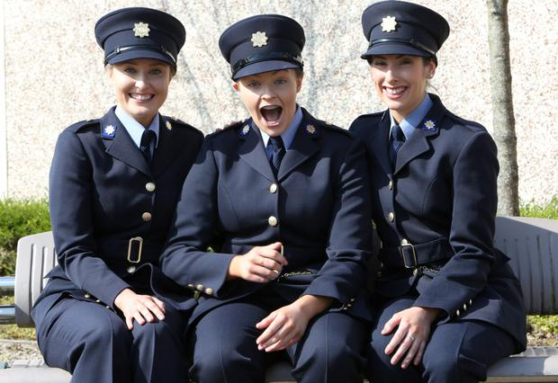 Attending the Garda graduations in Templemore on Thursday were Rachel Killeen, Newmarket on Fergus, Clare, Aoife McEvoy, Navan, Meath and Claire Healy, Rochestown, Cork. Photograph Liam Burke/Press 22
