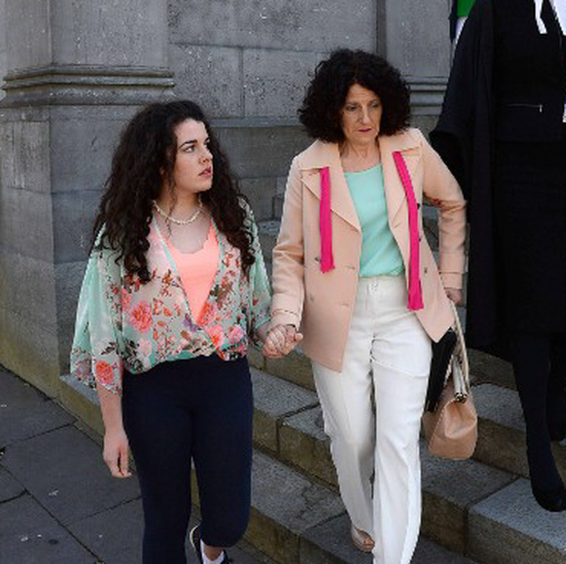 Margaret O'Leary and her daughter Shannon leave court.
