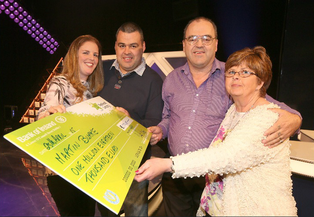 Martin Burke from Naas, Co. Kildare has won €1,018,000 on the National Lottery's The Million Euro Challenge game show on RTE on Saturday 25th April 2015. Pictured at the presentation of prizes are from left to right; Gina Burke, Martin's wife; Martin Burke, Martin's son & guest support on the show. Martin Burke, the winning player and Kathleen Burke, Martin's wife