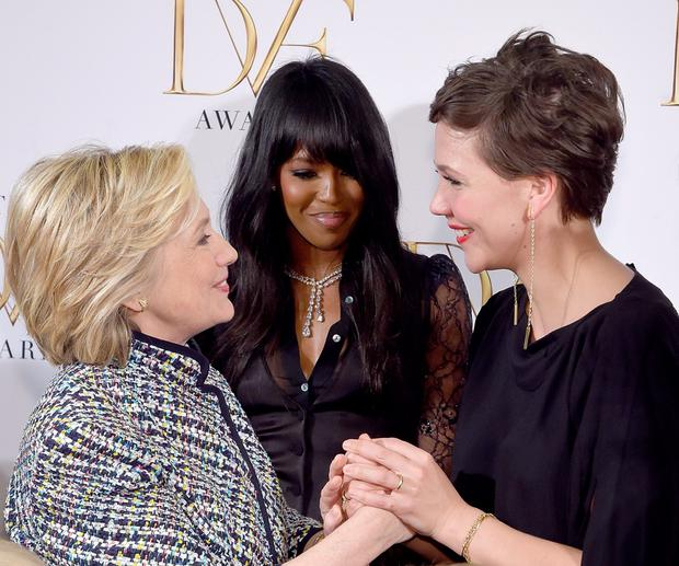 Hillary Clinton, Naomi Campbell and Maggie Gyllenhaal attend the 2015 DVF Awards at United Nations on April 23, 2015 in New York City.