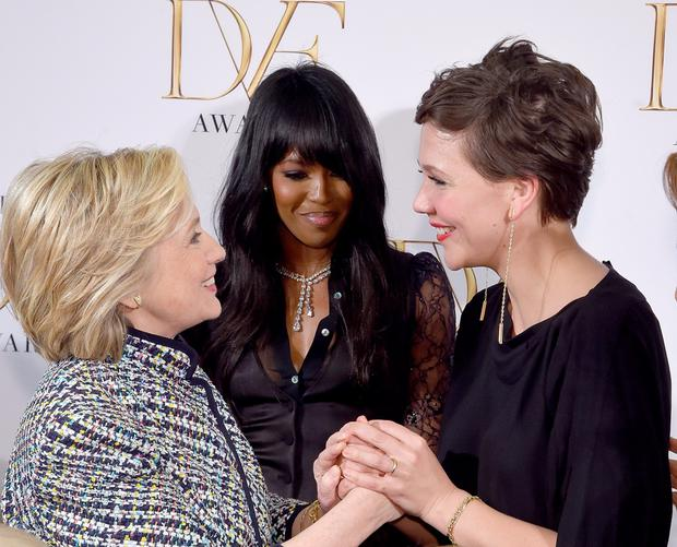 Hillary Clinton, Naomi Campbell and Maggie Gyllenhaal attend the 2015 DVF Awards at United Nations