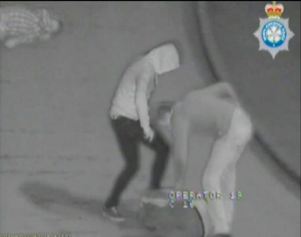 Screen grabbed image taken from CCTV issued by North Yorkshire Police of soldiers Jason Collins and Shaun Smith during a vicious night time assault. Photo: North Yorkshire Police/PA Wire