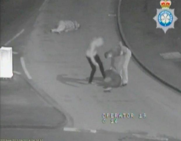 Screen grabbed image taken from CCTV issued by North Yorkshire Police of soldiers Jason Collins and Shaun Smith during a vicious night time assault. Photo: North Yorkshire Police/PA