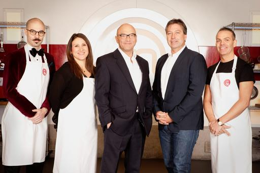 Masterchef cooks Tony Rodd, Emma Spitzer and Simon Wood posing with judges Gregg Wallace and John Torode