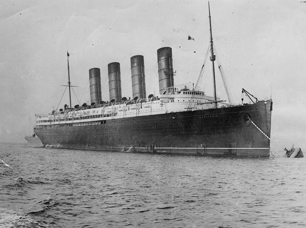 circa 1910: British liner the 'Lusitania', which was sunk off Kinsale on the Irish coast by a German U-boat in 1915. (Photo by Hulton Archive/Getty Images)