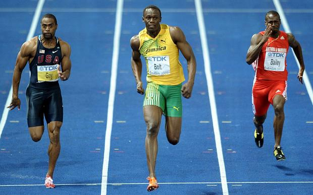 Winner Usain bolt of Jamaica during the 100m Final at the 12th IAAF World Championships in Athletics