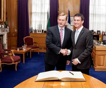The French Prime Minister Manuel Valls (right) meets Taoiseach Enda Kenny in Dublin. Pic Mac Innes Photography
