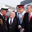 Pictured is from left: HRH Prince Charles, President Michael D Higgins and HRH Prince Harry, President of the Republic of Turkey H.E. Recep Tayyip Erdogan at Helles Memorial, Gallipoli, at the Commonwealth and Ireland service to Commemorate the Gallipoli Campaign. Photo Chris Bellew /Fennell Photography 2015