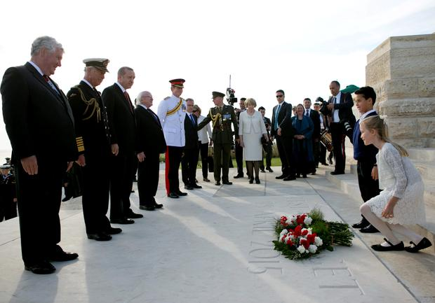 Pictured is from left: Sir Joe French, Vice Chairman of the Commonwealth War Graves Commission, HRH Prince Charles, President of the Republic of Turkey H.E. Recep Tayyip Erdogan and President Michael D Higgins and HRH Prince Harry at Helles Memorial, Gallipoli, Turkey, at the Commonwealth and Ireland service to Commemorate the Gallipoli Campaign. Photo Chris Bellew /Fennell Photography