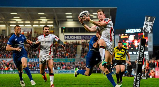 24 April 2015; Craig Gilroy, Ulster, is tackled by Rob Kearney, Leinster. Guinness PRO12, Round 20, Ulster v Leinster. Kingspan Stadium, Ravenhill Park, Belfast. Picture credit: Ramsey Cardy / SPORTSFILE