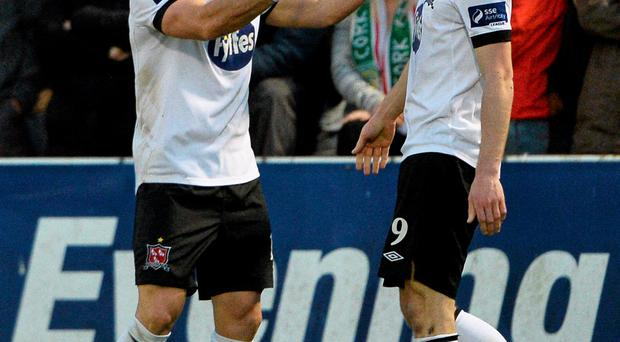 24 April 2015; Dundalk's Richie Towell, left, celebrates after scoring his side's second goal with team-mate David McMillan. SSE Airtricity League Premier Division, Cork City v Dundalk. Turners Cross, Cork. Picture credit: David Maher / SPORTSFILE