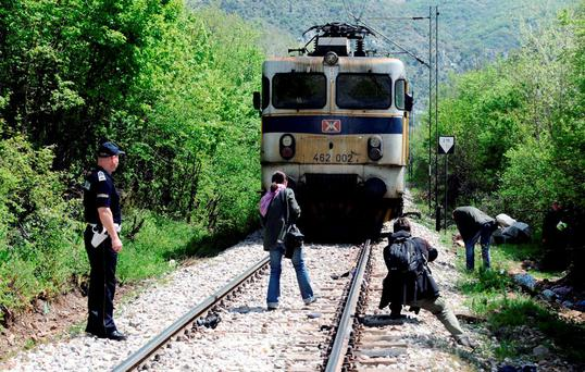 Fourteen migrants were hit by a train and killed in central Macedonia late on Thursday as they walked through a canyon along an increasingly well-trodden Balkan route for migrants trying to reach western Europe. Photo: Reuters