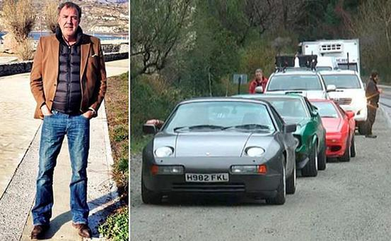 Clarkson in Chile before the attack on the Top Gear team. Right, the convoy including the Porsche with the 'Falklands' plate (Autoblog Argentina)