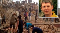(Inset) Fr Tom Dalton. Volunteers help with rescue work at the site of a building that collapsed after an earthquake in Kathmandu, Nepal.