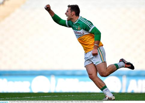 25 April 2015; William Mulhall, Offaly, celebrates scoring his team's fourth goal. Allianz Football League, Division 4, Final, Longford v Offaly. Croke Park, Dublin. Picture credit: Cody Glenn / SPORTSFILE