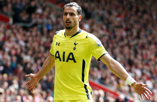 Tottenham's Nacer Chadli celebrates scoring their second goal against Southampton at St. Mary's yesterday