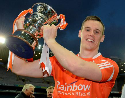 Armagh's Mark Shields celebrates with the cup
