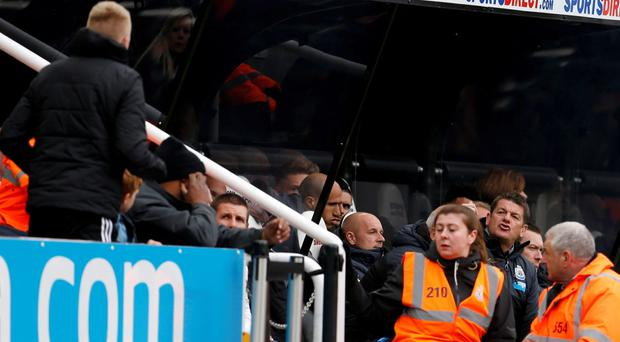 Newcastle manager John Carver remonstrates with a fan Action Images via Reuters / Lee Smith Livepic