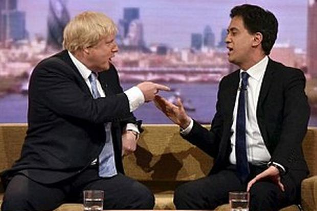 Boris Johnson and Ed Miliband in furious clash on the BBC.