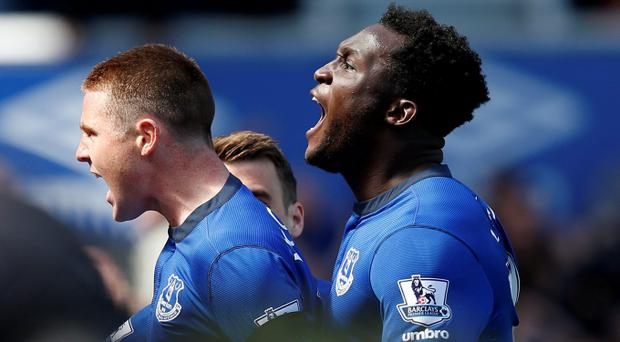 James McCarthy celebrates with Romelu Lukaku after scoring the first goal for Everton Reuters / Andrew Yates Livepic