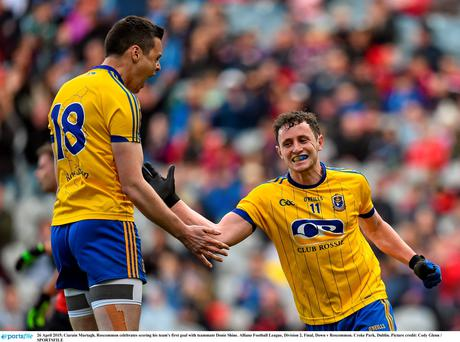 26 April 2015; Ciarain Murtagh, Roscommon celebrates scoring his team's first goal with teammate Donie Shine. Allianz Football League, Division 2, Final, Down v Roscommon. Croke Park, Dublin. Picture credit: Cody Glenn / SPORTSFILE