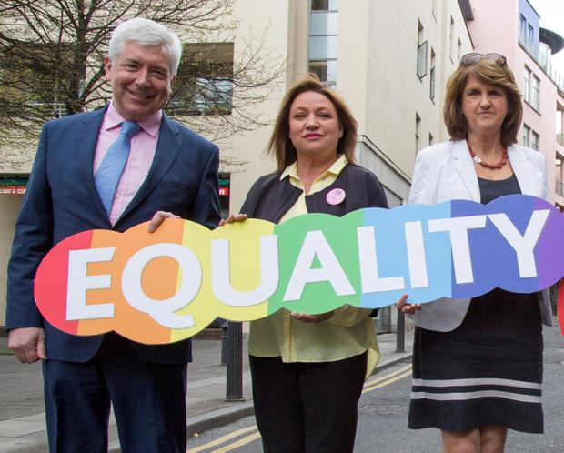 Alex White, Publishing entrepreneur Norah Casey & Labour Party Leader Joan Burton, at the launch of the Labour Party Marriage Equality Campaign at Smock Alley Theatre today. 26/4/2015 Picture by Fergal Phillips.