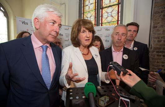 Labour Party Leader Joan Burton & Alex White, at the launch of the Labour Party Marriage Equality Campaign at Smock Alley Theatre today. 26/4/2015 Picture by Fergal Phillips.