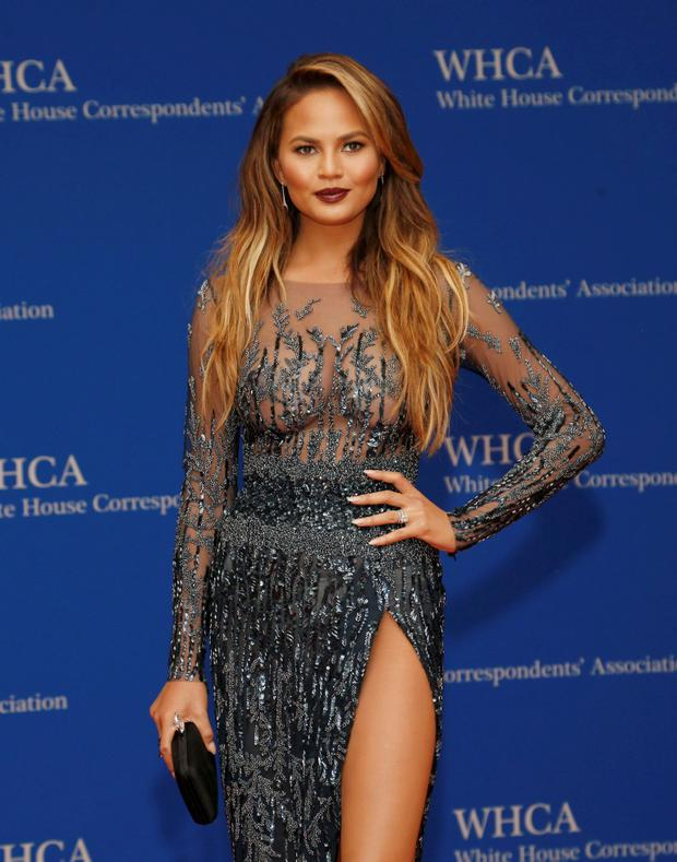 Model Chrissy Teigen arrives for the annual White House Correspondents' Association dinner in Washington April 25, 2015. REUTERS/Jonathan Ernst