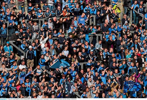 26 April 2015; Dublin supporters on Hill 16 during the game. Allianz Football League, Division 1, Final, Dublin v Cork. Croke Park, Dublin. Picture credit: Ray McManus / SPORTSFILE