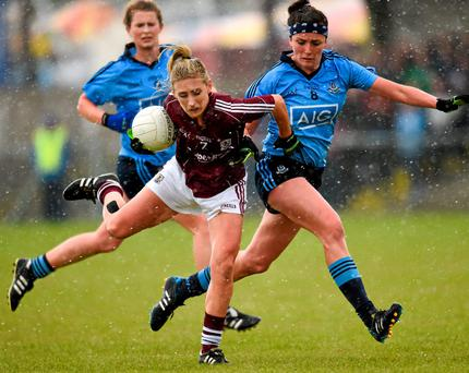 Galway's Sinead Burke is challenged by Dublin's Niamh McEvoy during their Ladies NFL Division 1 semi-final