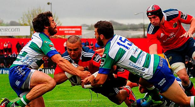 Munster's Simon Zebo crosses the line to score the first try against Benetton Treviso at Irish Independent Park on Saturday