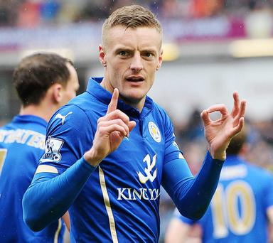 Jamie Vardy celebrates scoring the decisive goal for Leicester against Burnley