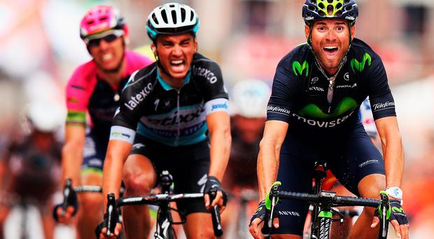 Spain's Alejandro Valverde crosses the line ahead of Julian Alaphilippe to win Liege-Bastogne-Liege
