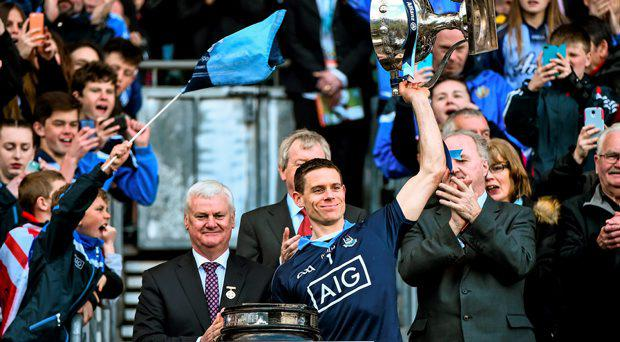 Dublin captain Stephen Cluxton lifts the cup following his side's victory. Allianz Football League, Division 1, Final, Dublin v Cork. Croke Park, Dublin