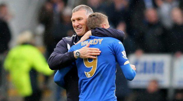 Leicester City manager Nigel Pearson celebrates with Jamie Vardy at the end