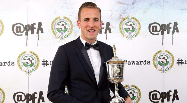 Winner of the PFA's Young Player of the Year, Harry Kane during the PFA Awards at the Grosvenor House Hotel, London