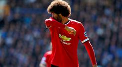Manchester United's Marouane Fellaini looks dejected during the Barclays Premier League match at Goodison Park