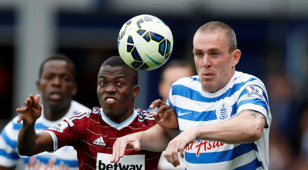 West Ham's Enner Valencia in action with QPR's Richard Dunne