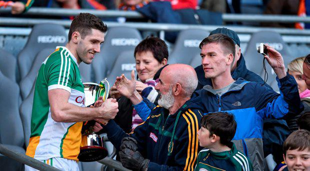 Offaly captain Paul McConway celebrates with supporters. Allianz Football League, Division 4, Final, Longford v Offaly. Croke Park, Dublin. Picture credit: Cody Glenn / SPORTSFILE