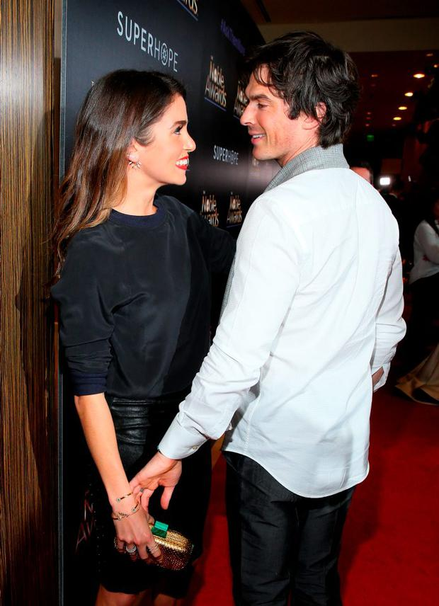 Actress Nikki Reed and actor Ian Somerhalder attend the 3rd Annual Noble Awards at The Beverly Hilton Hotel on February 27, 2015 in Beverly Hills, California. (Photo by Mark Davis/Getty Images)